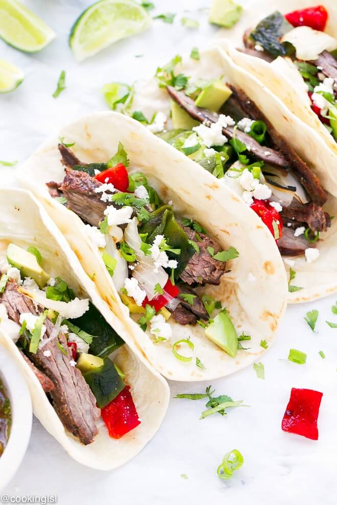 Skirt Steak Tacos with Roasted Poblanos