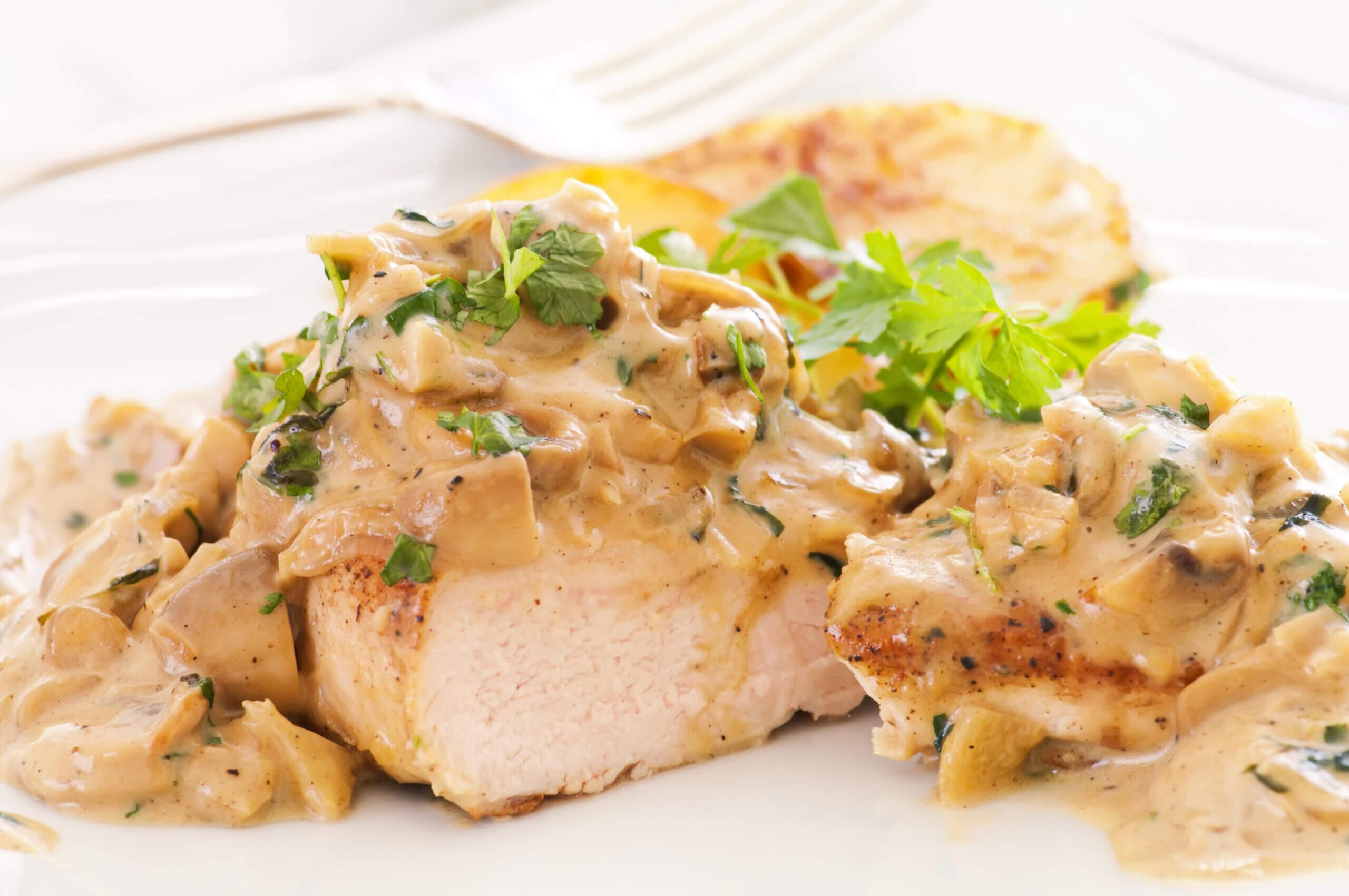 Chicken with Mushroom Cream Sauce